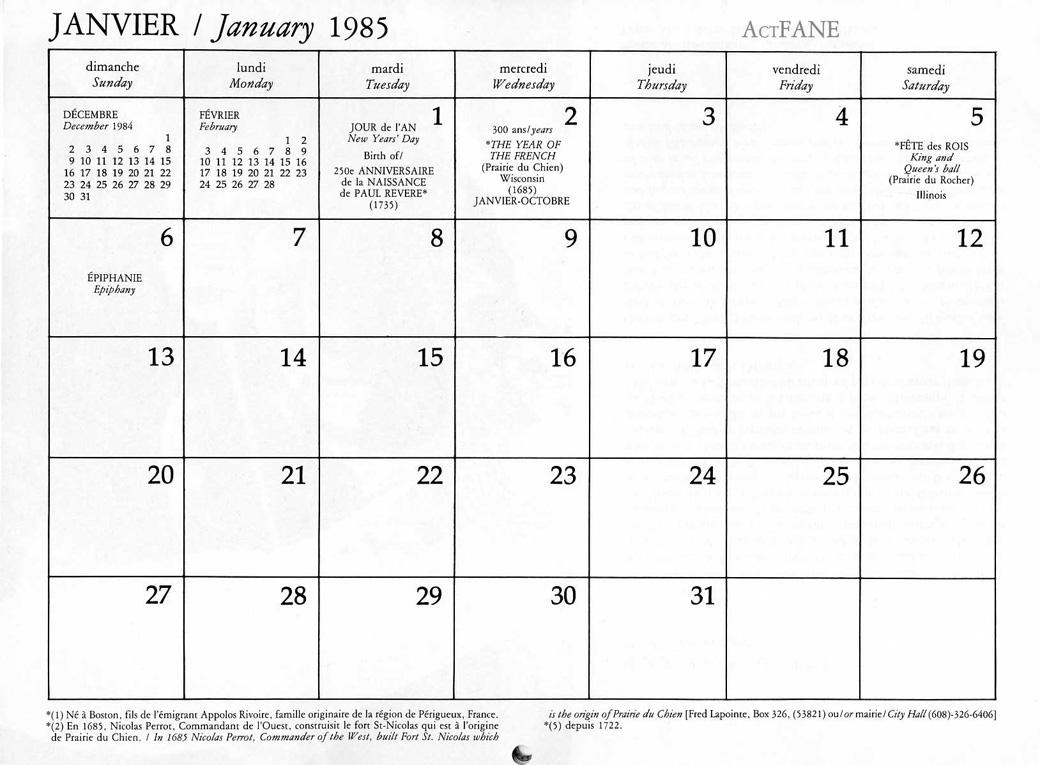 1985 Calendar.French In America Calendar
