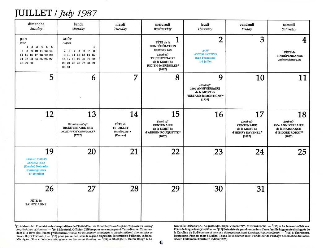 French In America Calendar